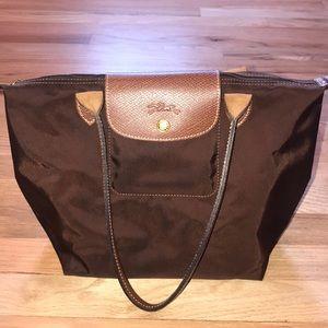 Brown Small Longchamp Le Pliage Shoulder Bag